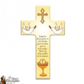 Croix en bois pour communion calice et colombes
