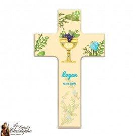 Croix en bois pour communion personnalisable
