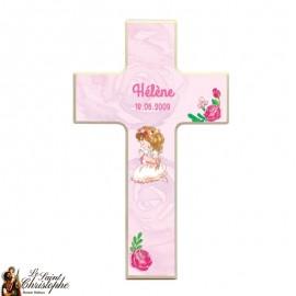 Croix en bois pour communion Fille - personnalisable