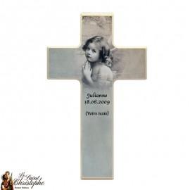 Houten kruis voor grijze engel communie - aanpasbaar
