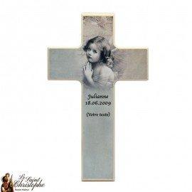 Croix en bois pour communion ange gris - personnalisable