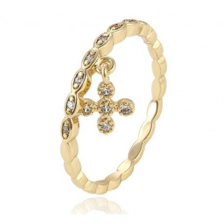 Ring zehn Kreuzkristalle - 18 K vergoldet