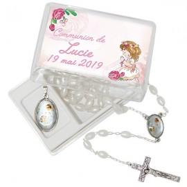 Chapelet et médaille communion personnalisable dans boite cadeau