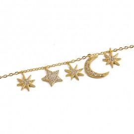 Bracelet croissant de lune étoiles zircon doré