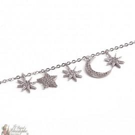Bracelet croissant de lune étoiles zircon