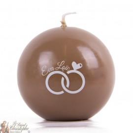 Bougie ronde décoration mariage personnalisable