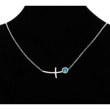 Collier croix avec cristaux Swarovski couleur argent