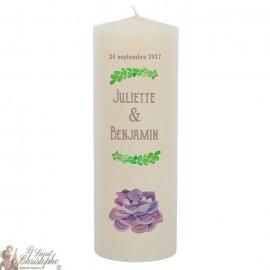 Bougie de mariage personnalisable  - Fleur mauve