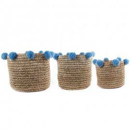 Paniers Pompons bleu ciel lot 3 pièces