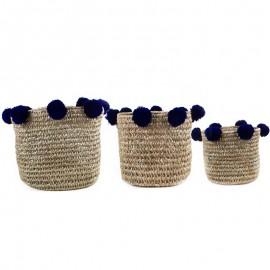 Paniers Pompons bleu lot 3 pièces