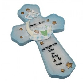 Children's room cross with protection quote and pretty little angel