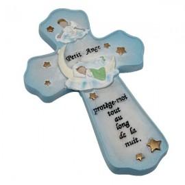 Croix chambre d'enfant avec citation protection et joli petit ange