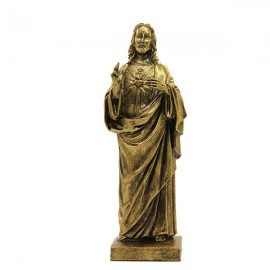 Statue Sacred Heart of Jesus Marble Powder Bronze Color Marble Powder