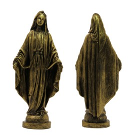 Statue Miraculous Virgin Miraculous Marble powder bronze color 22 cm