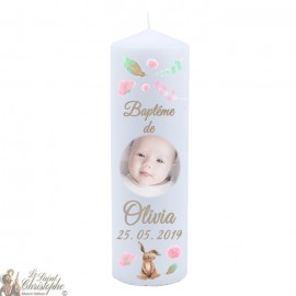 Personalized christening candle with photo