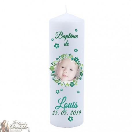 Bougie de baptême personnalisée avec photo