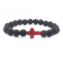 Bracelet pierres de lave avec croix - énergie naturelle