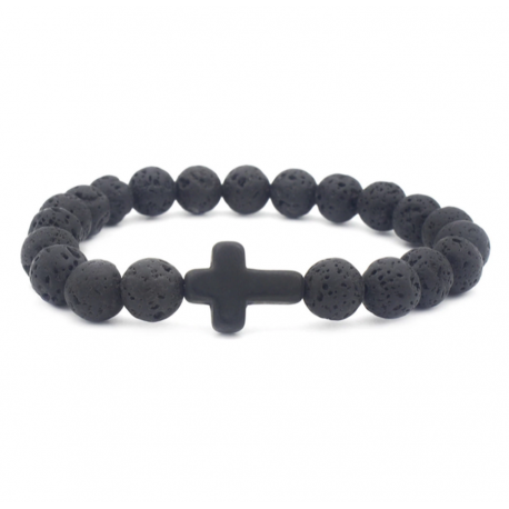 Lava stone bracelet with cross - natural energy
