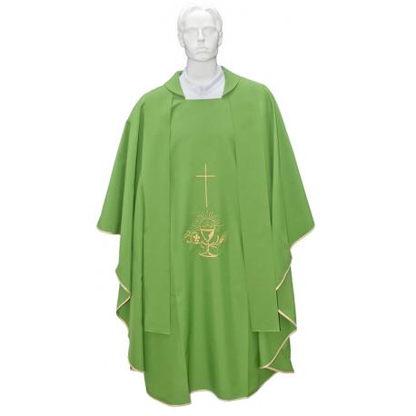 Casulla litúrgica bordado cruz dorada.