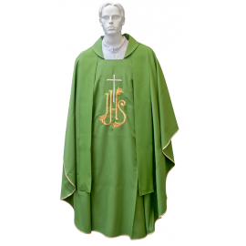 Chasuble for priest with cross embroidered stole and golden chalice