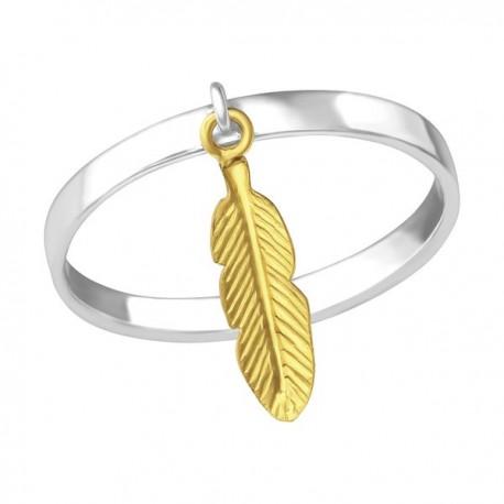 Silberring und vergoldete Feder