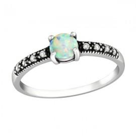 Opal Solitär Ring mit Zirkonen - Silber 925