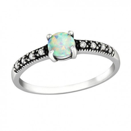 Opal Solitaire Ring with zircons - Silver 925
