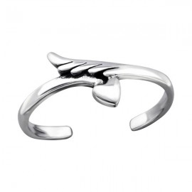 Angel wing and heart toe ring - Silver 925