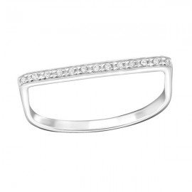 Zirconia straight bar ring - Silver 925