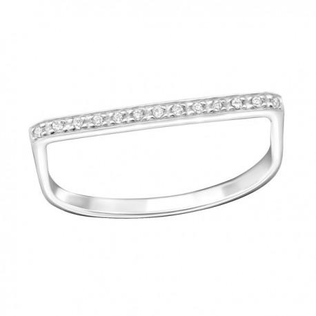 Zirconia straight bar ring - Silver 925