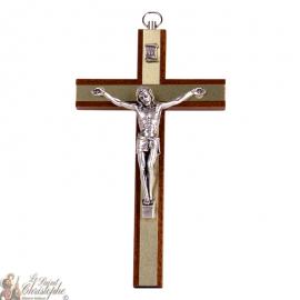 Croix en bois avec plaques dorées