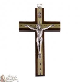 Pequeña cruz de madera con placas de oro talladas