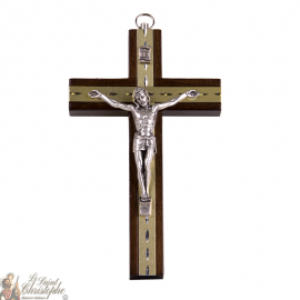 Klein houten kruisje met gesneden gouden plaatjes