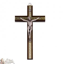 Petite croix en bois avec plaques dorées ciselées