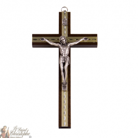 Large wooden cross with carved gold plates