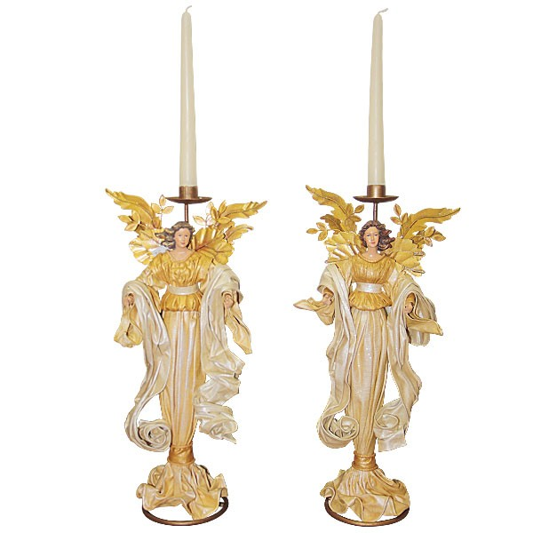 Candlesticks angel golden dress