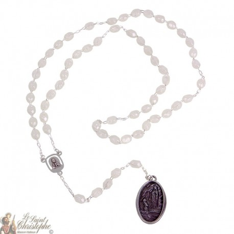 Lourdes fluorescent rosary with medal