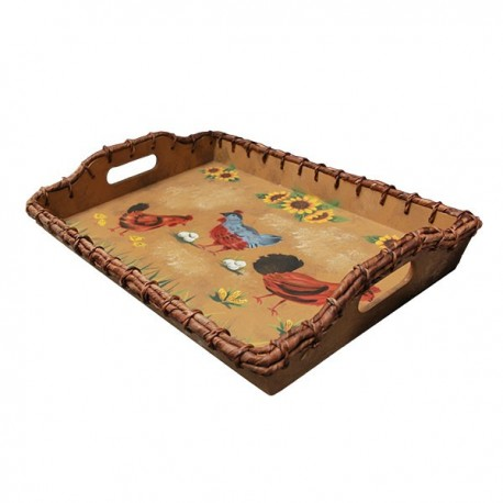 Serving tray decorated with hens in the style of a farmhouse, handmade