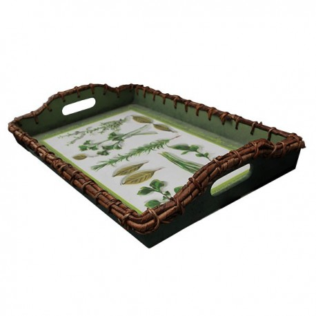 Decorated service tray in cottage style