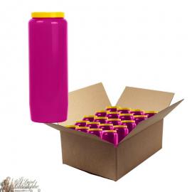 Bougies de neuvaine mauve - carton 20 pièces