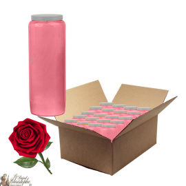 Bougies de neuvaine parfumée à la rose - carton 20 pièces