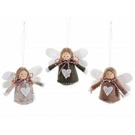 Engelen in stoffen ophangingen - set van 3 stuks