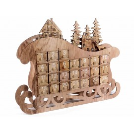 Advent calendar in wood with led lamp