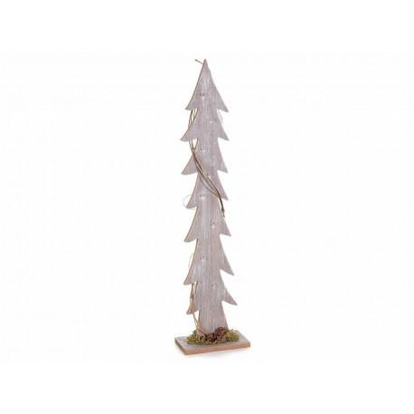 Albero di Natale in legno decorato con una ghirlanda di luci