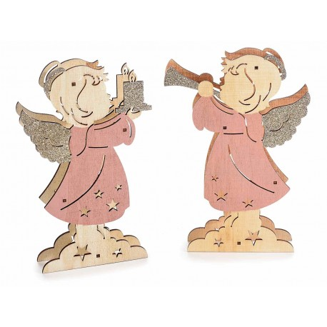 Angelo di legno scintillante e luminoso