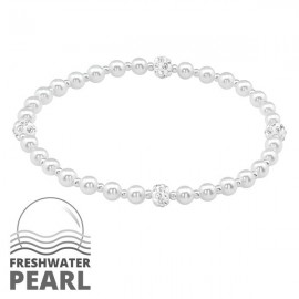 Silver pearl bracelet with freshwater pearl beads and crystal