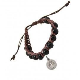 Bracelet dizaine bois et cuir noir avec médaille Saint benoît