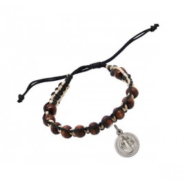 Bracelet dizaine bois et cuir brun avec médaille Saint benoît