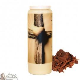 Bougie de neuvaine pour défunt parfum de bois de santal - Croix