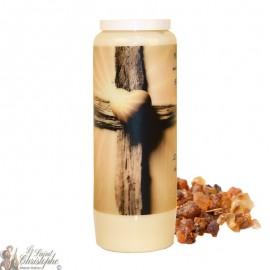 Bougie de neuvaine pour défunt parfum de myrrhe - Croix